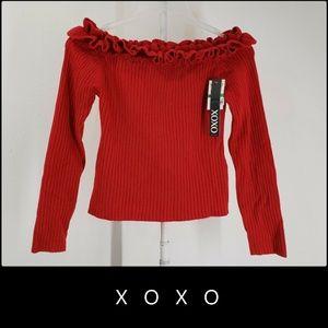 XOXO Women's Off Shoulder Crop Blouse Size Large